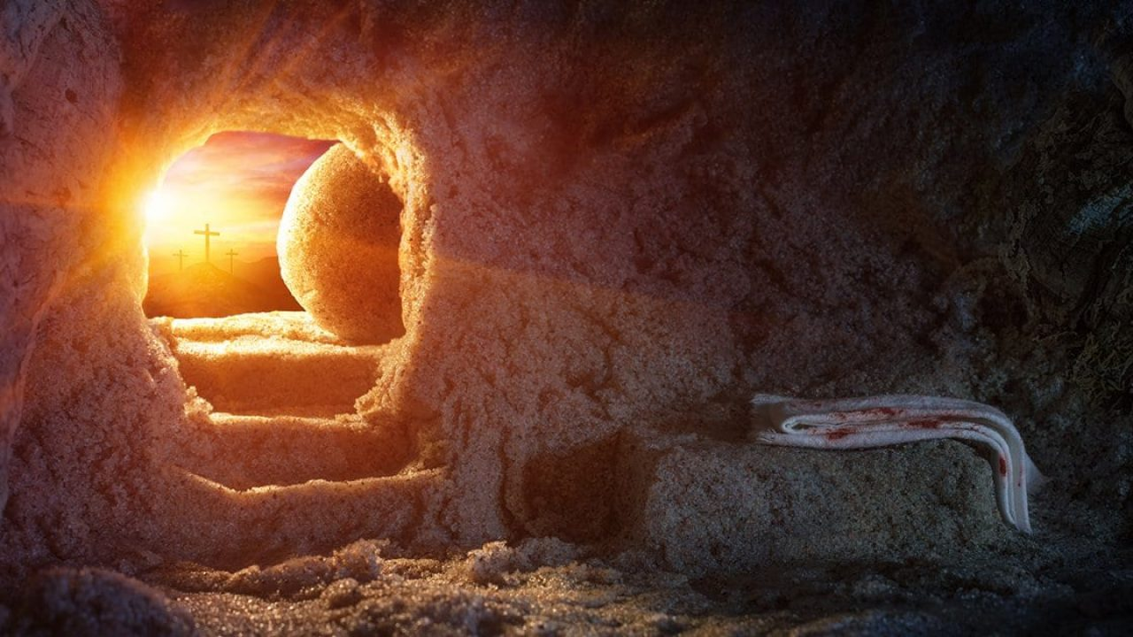The stone rolled away with a bright light by the tomb of Jesus