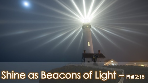 Bright light coming from a lighthouse, with text on image.